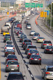 Traffic. Heavy morning traffic on Montreal's highways in Canada royalty free stock photo