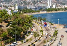 Traffic in Acapulco in Mexico. Traffic in Av Costera Miguel Aleman at Acapulco in Mexico Royalty Free Stock Images