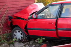 Traffic accident. Into a house in Sweden Stock Photography
