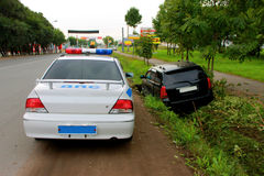 Traffic accident. The driver was drunk nespravilsya with management and parked in a ditch Royalty Free Stock Photo