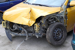 Traffic accident. Bended metal damage after car crash collision Stock Photos