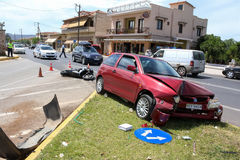 Traffic accident between a car and a motorcycle Royalty Free Stock Photography