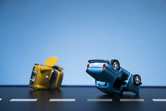 Traffic Accident. Classic fifties scale model toy cars accident on the road stock image
