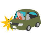 A traffic accident of the elderly driver. A vector illustration of a traffic accident of the elderly driver Royalty Free Stock Images