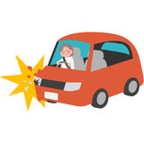 A traffic accident of the elderly driver. A vector illustration of a traffic accident of the elderly driver Stock Images