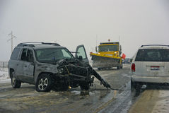 Traffic accident, on icy road Royalty Free Stock Image