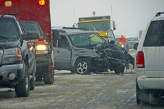 Traffic accident, on icy road Royalty Free Stock Photos