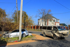 Traffic accident on the road Stock Photos