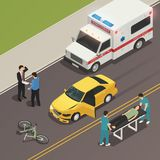 Traffic Accident Scene Isometric Composition. Traffic accident scene of car collision with bicycle isometric composition with drivers involved and ambulance Stock Image