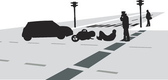 Traffic accident silhouette vector Stock Image