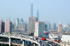 Traffic against Shanghai cityscape - China Royalty Free Stock Image