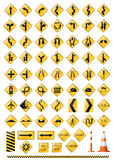 Traffic alert signs icon set. Road signs alert set for clipart Royalty Free Stock Images