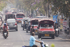 Traffic along busy road in the morning. Stock Photo