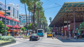 Traffic in Antalya. ANTALYA, TURKEY - MAY 13, 2017: Time lapse of fast traffic at Ataturk Boulevard, always busy and crowded shopping area with row of tall palms stock video