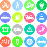 Traffic application icons in color circles Royalty Free Stock Photography
