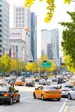Traffic approaching on a busy road through the Gangnam district Royalty Free Stock Photography