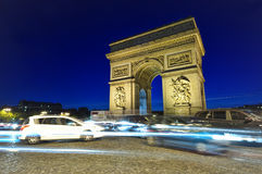 Traffic at Arc de Triomphe. Arch of Triumph, Paris, France Royalty Free Stock Photo