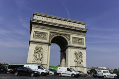 Traffic at  Arc de Triomphe Paris Stock Photography