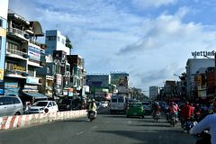 Traffic and architecture in Ho Chi Minh City, VietNam Royalty Free Stock Photography