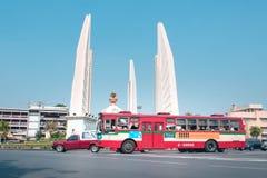 Traffic around Democracy Monument at Bangkok Thailand. Traffic around Democracy Monument, Various car and motorbike drive pass in the middle of circle at Bangkok stock photography