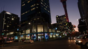 Traffic in Auckland CBD New Zealand at dusk stock video