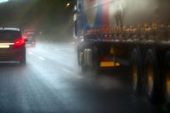 Traffic on the autobahn on a rainy day royalty free stock images
