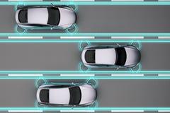 Traffic autopilot car with distance sensors. In flow top view. 3d rendering vector illustration