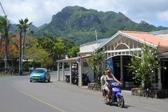 Traffic in Avarua town in Rrotonga Cook Islands Royalty Free Stock Photo
