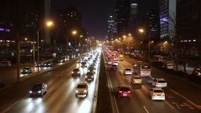 Traffic on the Avenue at night. In Beijing stock video footage