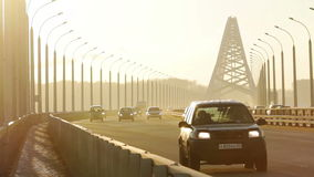 Traffic. On the background of sunlit sky stock footage