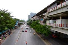 Traffic near BTS Chatuchak station Stock Photo