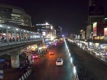Traffic in Bangkok busy shopping area Royalty Free Stock Photography