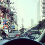 The traffic in Bangkok Royalty Free Stock Photography