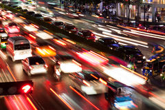 Traffic in Bangkok by night Stock Image
