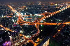 Traffic in Bangkok by night stock photos