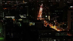 Traffic of Bangkok in the night. Aerial view of traffic on the street of Bangkok in the night, Thailand stock footage