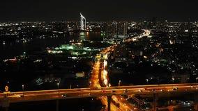 Traffic in bangkok at night. Traffic at bhumibol bridge in bangkok at night stock video footage