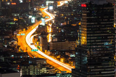 Traffic of Bangkok night bird eye view Stock Photography
