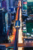 Traffic of Bangkok night bird eye view Stock Images