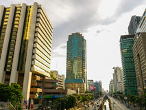 Traffic in Bangkok at Sunrise. Chongnontri Station, Bangkok Royalty Free Stock Photos