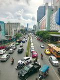 Traffic in Bangkok, Thailand. The picture shows BANGKOK close to MBK shopping with traffic crossroads under the sky in Bangkok, Thailand, was taken on October stock photo
