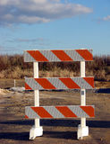 Traffic Barrier Warning Sign at Road Construction royalty free stock image