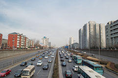 Traffic in beijing. On the main roads, Although a lot of cars, but the traffic is orderly,This photo was taken on March 9, 2014 Royalty Free Stock Photos
