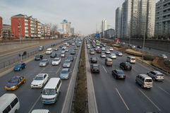 Traffic  in beijing. On the main roads, Beijing traffic scenery,This photo was taken on March 9, 2014 Stock Images