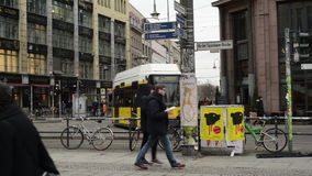 Traffic at Berlin district Mitte at Hackescher Markt. Cable cars and cars stock video footage