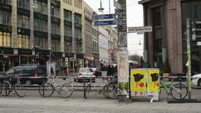 Traffic at Berlin district Mitte at Hackescher Markt. cars. MITTE, BERLIN/ GERMANY FEBRUARY 10 2015: Traffic at Berlin district Mitte at Hackescher Markt. cars stock video footage