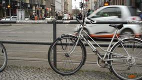 Traffic at Berlin district Mitte at Hackescher Markt. stock footage