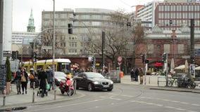 Traffic at Berlin district Mitte at Hackescher Markt. stock video footage