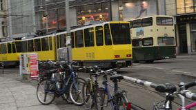 Traffic at Berlin district Mitte at Hackescher Markt. MITTE, BERLIN/ GERMANY FEBRUARY 10 2015: Traffic at Berlin district Mitte at Hackescher Markt. Cable cars stock footage