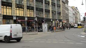 Traffic at Berlin district Mitte at Hackescher Markt. MITTE, BERLIN/ GERMANY FEBRUARY 10 2015: Traffic at Berlin district Mitte at Hackescher Markt. Cable cars stock video